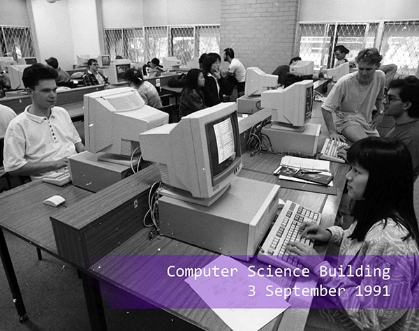 A computer lab in the computer science building in 1991