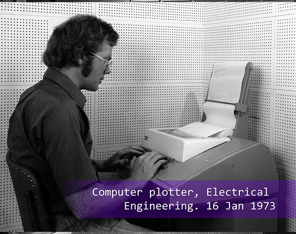 A computer plotter in Electrical Engineering working in 1973