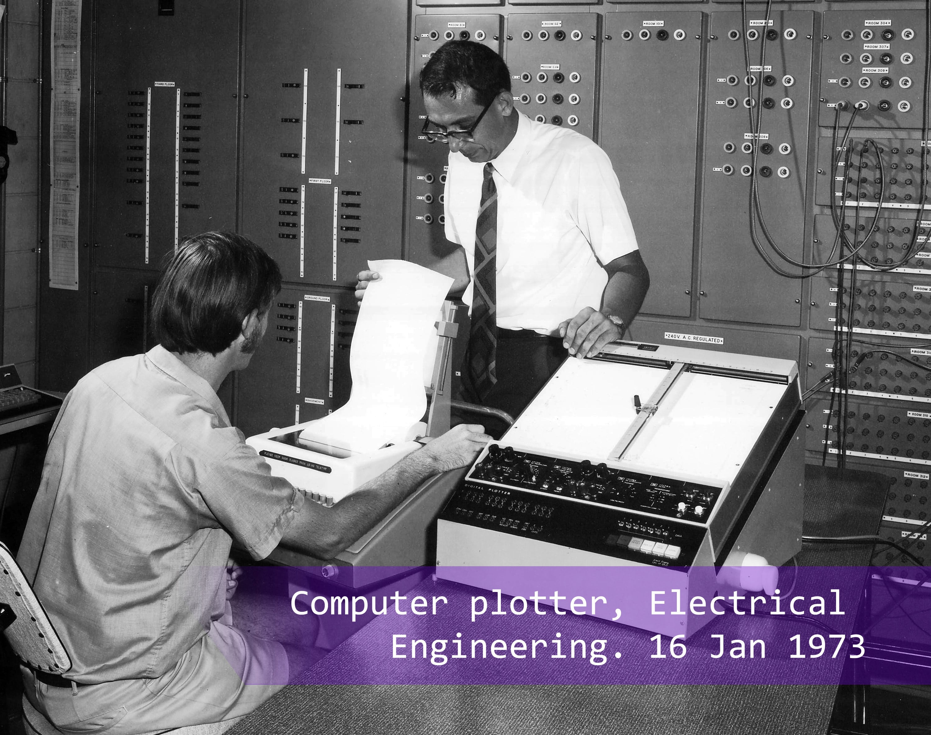 A computer plotter in Electrical Engineering in 1973