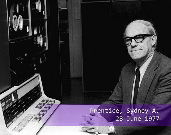 Sydney A Prentice at the computer in 1977
