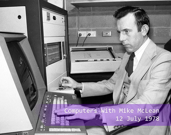Mike McLean works on a computer in 1978