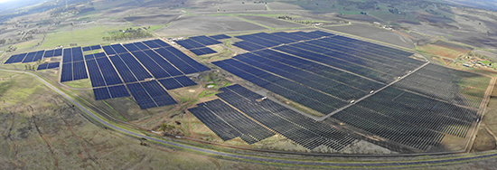 aerial view of Warwick Solar Farm showing installed solar panels